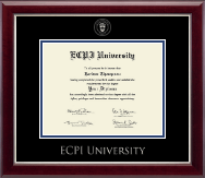 East Coast Polytechnic Institute University Diploma Frame - Silver Embossed Diploma Frame in Gallery Silver
