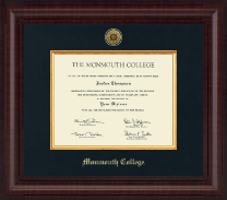 Monmouth College Diploma Frame - Presidential Gold Engraved Diploma Frame in Premier