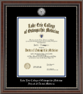 Lake Erie College of Osteopathic Medicine Diploma Frame - Silver Engraved Medallion Diploma Frame in Chateau