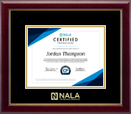 NALA The Paralegal Association Certificate Frame - Gold Embossed Certificate Frame in Gallery
