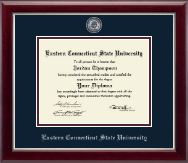 Eastern Connecticut State University Diploma Frame - Masterpiece Medallion Diploma Frame in Gallery Silver