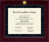 Jones County Junior College Diploma Frame - Millennium Gold Engraved Diploma Frame in Cordova