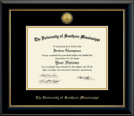 The University of Southern Mississippi Diploma Frame - Gold Engraved Medallion Diploma Frame in Onyx Gold