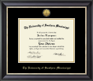 The University of Southern Mississippi Diploma Frame - Gold Engraved Medallion Diploma Frame in Noir