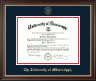 The University of Mississippi Diploma Frame - Gold Embossed Diploma Frame in Studio Gold