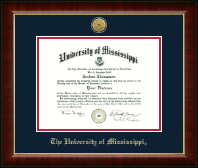 The University of Mississippi Diploma Frame - Gold Engraved Medallion Diploma Frame in Murano