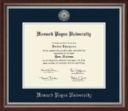 Howard Payne University Diploma Frame - Silver Engraved Medallion Diploma Frame in Devonshire