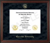Quantum University Diploma Frame - Gold Embossed Diploma Frame in Studio
