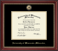 University of Wisconsin-Milwaukee Diploma Frame - Masterpiece Medallion Diploma Frame in Kensington Gold