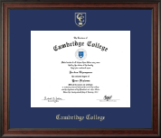 Cambridge College Diploma Frame - Gold Embossed Diploma Frame in Studio