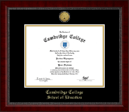 Cambridge College Diploma Frame - Gold Engraved Medallion Diploma Frame in Sutton