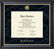 Pratt Institute Diploma Frame - Gold Engraved Medallion Diploma Frame in Noir