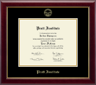 Pratt Institute Diploma Frame - Gold Embossed Diploma Frame in Gallery