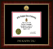 Phi Kappa Tau Fraternity Certificate Frame - Gold Engraved Medallion Certificate Frame in Murano