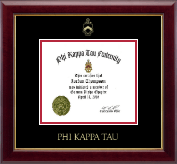 Phi Kappa Tau Fraternity Certificate Frame - Gold Embossed Certificate Frame in Gallery