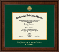 The University of North Carolina at Charlotte Diploma Frame - Presidential Gold Engraved Diploma Frame in Madison