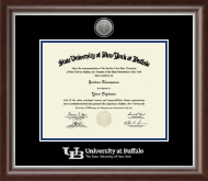 University at Buffalo Diploma Frame - Silver Engraved Medallion Diploma Frame in Devonshire