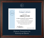 National Association for Catering and Events Certificate Frame - Silver Embossed Certificate Frame in Studio