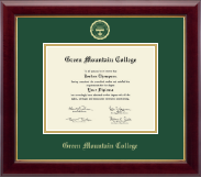 Green Mountain College Diploma Frame - Gold Embossed Diploma Frame in Gallery