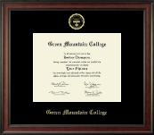 Green Mountain College Diploma Frame - Gold Embossed Diploma Frame in Studio