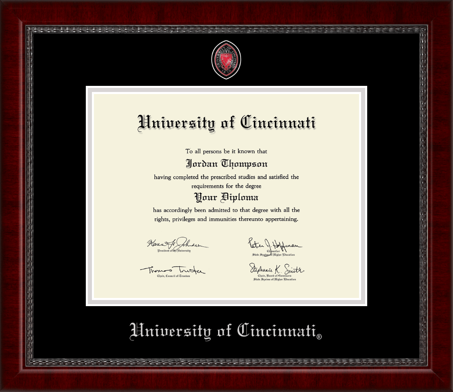 University Of Cincinnati Masterpiece Medallion Diploma Frame In Sutton