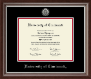 University of Cincinnati Diploma Frame - Silver Engraved Medallion Diploma Frame in Devonshire
