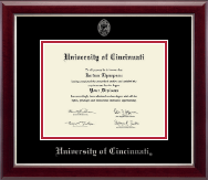 University of Cincinnati Diploma Frame - Silver Embossed Diploma Frame in Gallery Silver