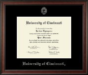 University of Cincinnati Diploma Frame - Silver Embossed Diploma Frame in Studio