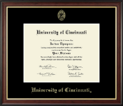 University of Cincinnati Diploma Frame - Gold Embossed Diploma Frame in Studio Gold