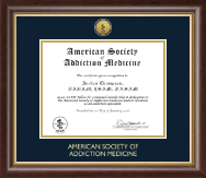 American Society of Addiction Medicine Certificate Frame - Gold Engraved Medallion Certificate Frame in Hampshire