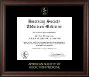 American Society of Addiction Medicine Certificate Frame - Gold Embossed Certificate Frame in Studio