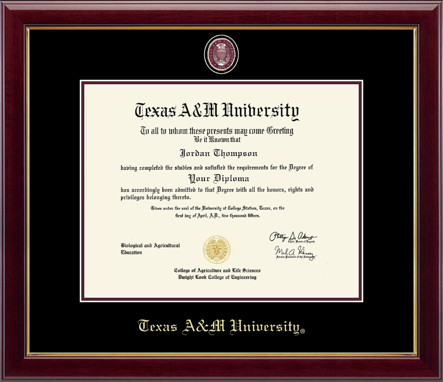 Texas A&M University Masterpiece Medallion Diploma Frame in Gallery ...