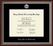 Long Island University - Brooklyn Diploma Frame - Silver Engraved Medallion Diploma Frame in Devonshire