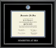 Semester At Sea Certificate Frame - Masterpiece Medallion Certificate Frame in Onyx Silver