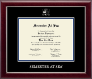 Semester At Sea Certificate Frame - Silver Embossed Certificate Frame in Gallery Silver