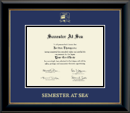 Semester At Sea Certificate Frame - Gold Embossed Certificate Frame in Onyx Gold