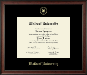 Waldorf University Diploma Frame - Gold Embossed Diploma Frame in Studio