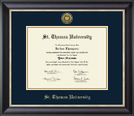 St. Thomas University Diploma Frame - Gold Engraved Medallion Diploma Frame in Noir