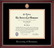 The University of Tennessee Knoxville Diploma Frame - Pewter Masterpiece Medallion Diploma Frame in Kensington Silver