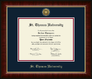 St. Thomas University Diploma Frame - Gold Engraved Medallion Diploma Frame in Murano