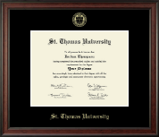 St. Thomas University Diploma Frame - Gold Embossed Diploma Frame in Studio