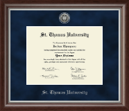 St. Thomas University Diploma Frame - Silver Engraved Medallion Diploma Frame in Devonshire