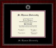 St. Thomas University Diploma Frame - Silver Embossed Diploma Frame in Sutton