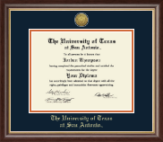 The University of Texas San Antonio Diploma Frame - Gold Engraved Medallion Diploma Frame in Hampshire