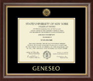 State University of New York Geneseo Diploma Frame - Gold Engraved Medallion Diploma Frame in Prescott