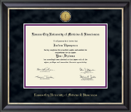 Kansas City University of Medicine and Biosciences Diploma Frame - Gold Engraved Medallion Diploma Frame in Noir