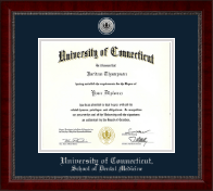 University of Connecticut School of Dental Medicine Diploma Frame - Silver Engraved Medallion Diploma Frame in Sutton
