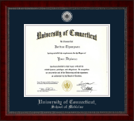 University of Connecticut School of Medicine Diploma Frame - Silver Engraved Medallion Diploma Frame in Sutton