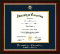 University of Connecticut School of Medicine Diploma Frame - Gold Embossed Diploma Frame in Murano