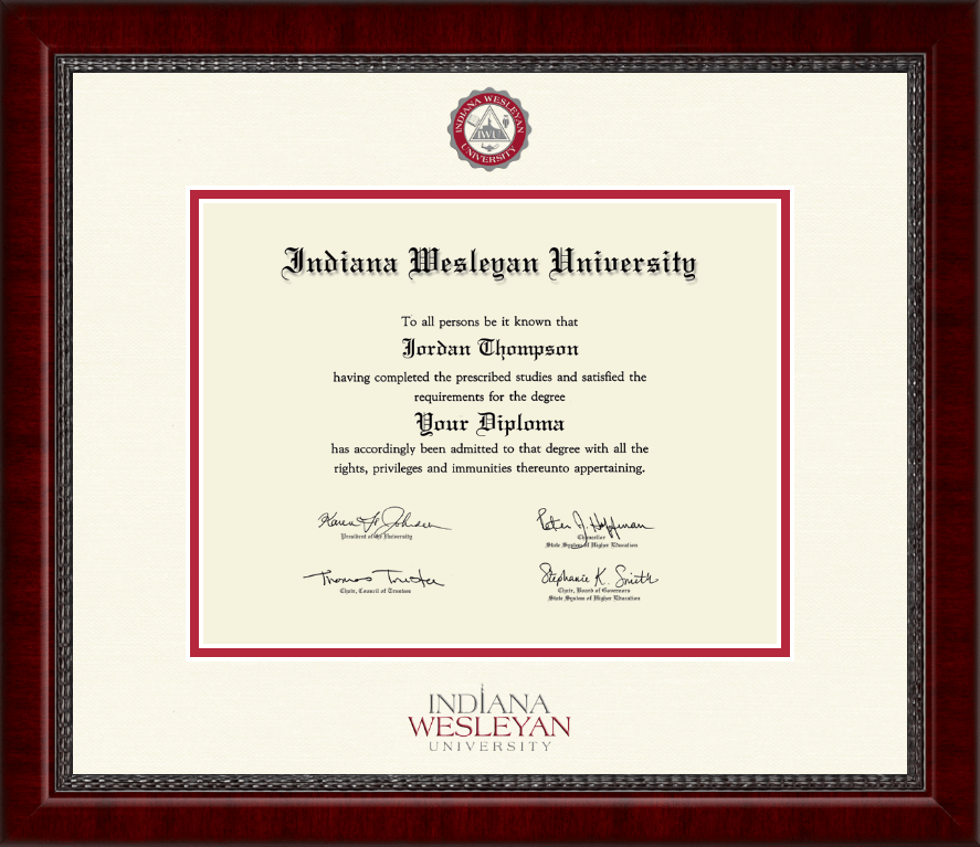 Indiana Wesleyan University Dimensions Diploma Frame In